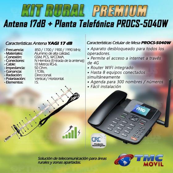 Kit Rural Antena Amplificadora de señal Yagi 17 Db Y Celular De Mesa Teléfono ProElectronic Procs-5040w