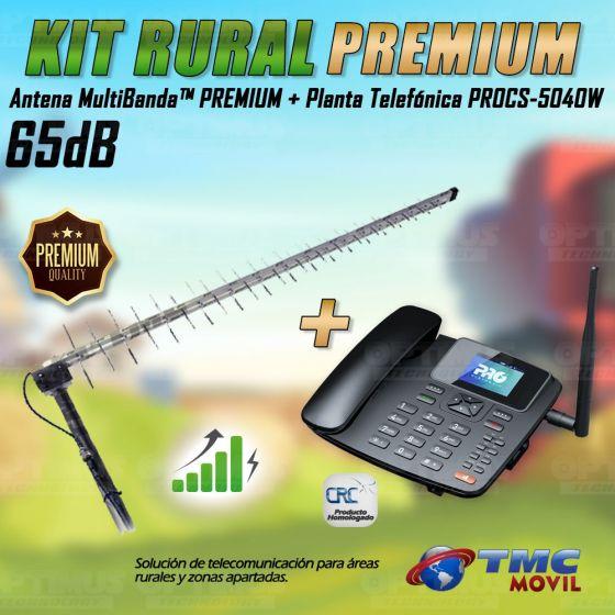 Kit Rural Antena Amplificadora de señal Multibanda Premium 65db Y Celular De Mesa Teléfono ProElectronic Procs-5040w