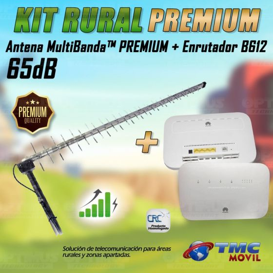 KIT Antena Amplificadora De Señal Multibanda PREMIUM 65 Db Con Enrutador Huawei B612