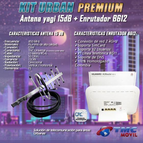 KIT Antena Amplificadora De Señal Yagi de 15Db Con Enrutador Huawei B612