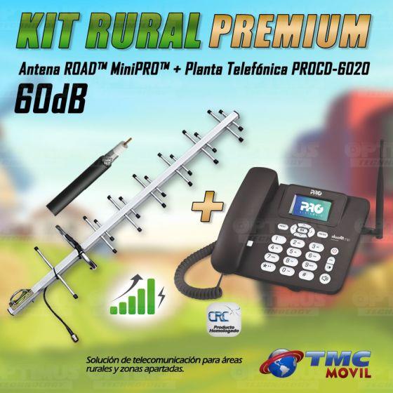 Kit Rural Antena Amplificadora de señal Road MiniPRO 60 Db Y Celular De Mesa Teléfono ProElectronic Procd-6020