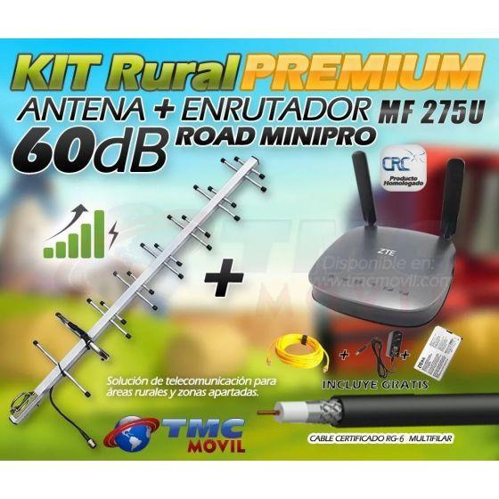 KIT Antena Amplificadora De Señal Road MiniPRO 60 Db Con Enrutador ZTE MF275u