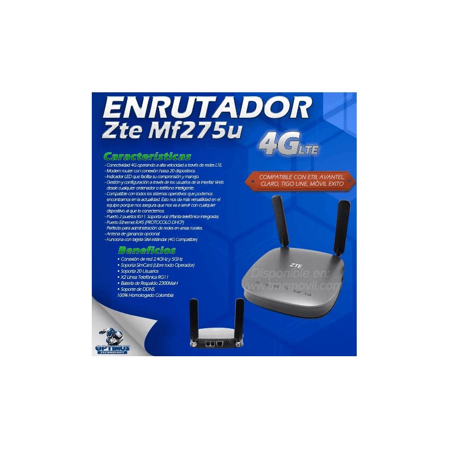Modem de Internet Enrutador ZTE MF275U 4GLTE + x2 Antenas Omnidireccionales 5dBi + Batería 2300MaH Homologado