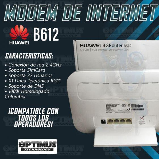 Enrutador Modem de Internet Huawei B612 Libre Todo Operador 4G LTE y Compatible 4.5G