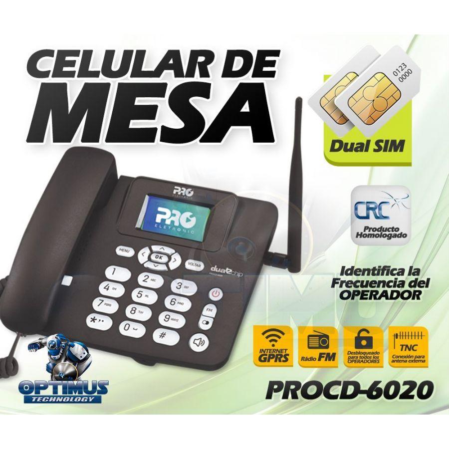 Teléfono Celular De Mesa Pro Electronics PROCD-6020 Doble SimCard