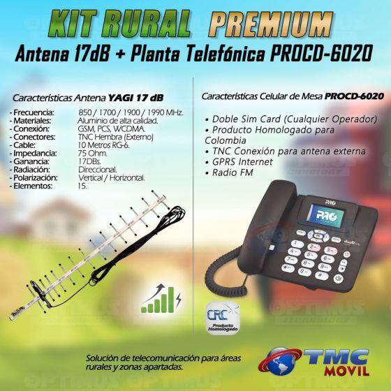 Kit Rural Antena Amplificadora de señal Yagi 17 Db Y Celular De Mesa Teléfono ProElectronic Procd-6020