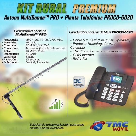 Kit Rural Antena Amplificadora de señal Multibanda PRO 65 Db Y Celular De Mesa Teléfono ProElectronic Procd-6020