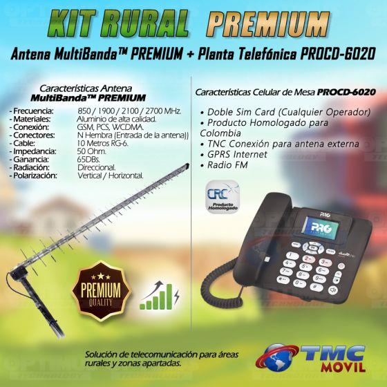 KIT Antena Amplificadora De Señal Multibanda PREMIUM 65 Db Con Celular De Mesa Teléfono ProElectronic Procd-6020